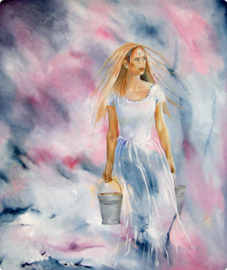 Lady with bucket